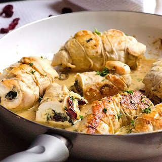 Chicken Stuffed with Brie, Spinach & Cranberries.