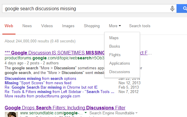 Discussions button for Google Search™