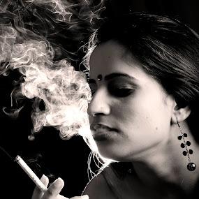 Smoking by Anurag Bhateja - People Portraits of Women