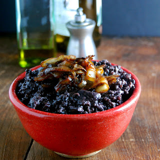Black Rice Risotto with Mushrooms and Caramelized Onions.