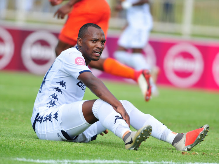 Bidvest Wits striker Gift Motupa stays down on the floor waiting for medical attention during an Absa Premiership match against Polokwane City at Old Peter Mokaba Stadium on January 20 2019.