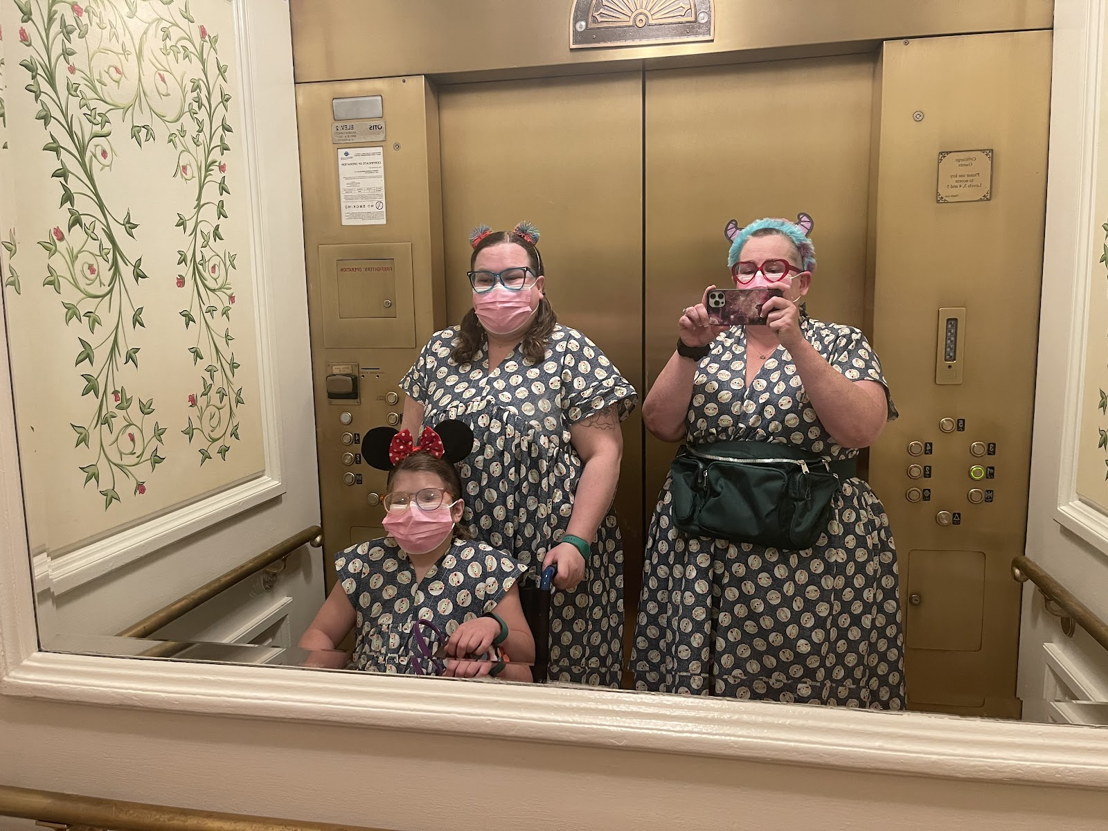 Three people, two women and a girl, in an elevator taking a photo.  They are all wearing dresses made from the same material.