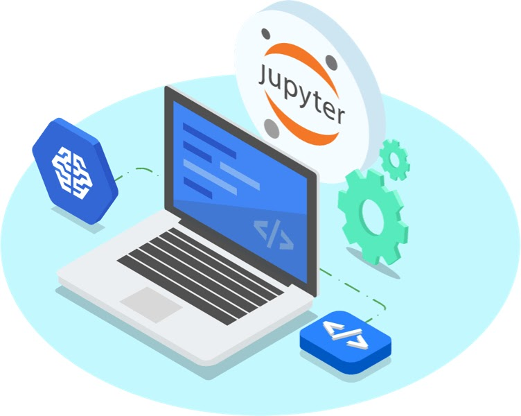 Jupyter notebook logo next to gears, behind illustration of an open laptop with the AI Platform logo connected with dotted line on left and a blue html button connected on right