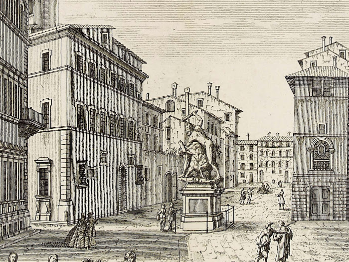 Giuseppe Zocchi, Bernardo Sgrilli, Veduta del Palazzo del Sig. March. Strozzi, del Centauro, e della Strada, che conduce a Santa Maria Novella, 1744 (particolare Ercole e il centauro Nesso)