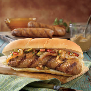 Grilled Brats with Onion Relish.