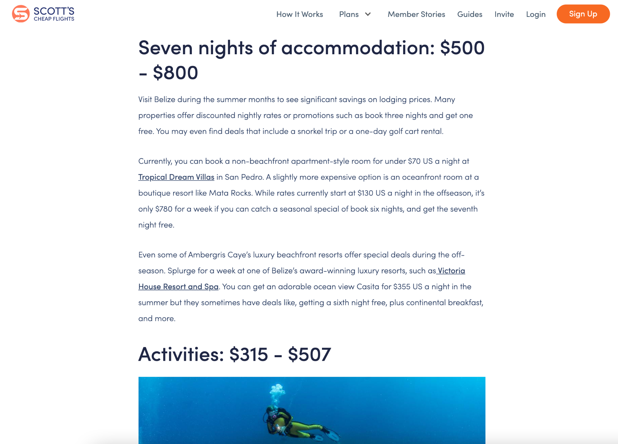 An article from Scott's Cheap Flights allows you to jump from topic to topic with clear, distinct headings that accurately describe the small-ish amounts of text underneath. The headings and accompanying text in view are: Seven nights of accommodation $500 to $800, Activities $315 to $507.