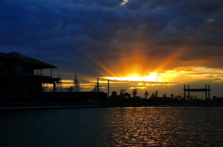 Sky Rip by Leigh Martin - City,  Street & Park  Skylines ( sunset water )