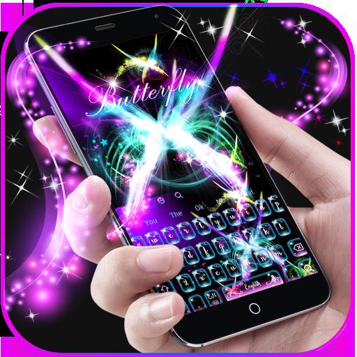 Neon Butterfly Keyboard Theme