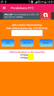 Pondicherry Vehicle Registration Details screenshot