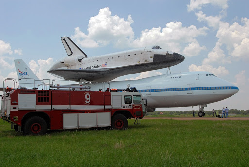 Atlantis has landed at Columbus Air Force Base in Mississippi for a fuel stop on its journey back to Florida.