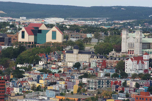 The Rooms resort, left, and Basilica Cathedral of St. John the Baptist, right, in St. John's, capital of Newfoundland and Labrador.
