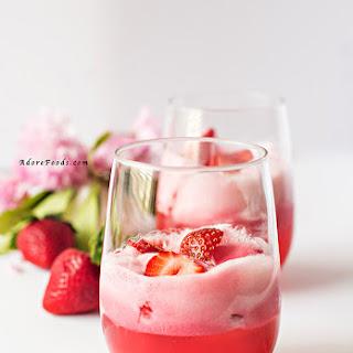 Easy Strawberry Sorbet Float.