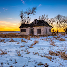 Winter Cottage by Kendra Perry Koski - Buildings & Architecture Decaying & Abandoned ( united states, winter, cold, dakotawindsphoto.com, building, canon, home, orange, 2019, dakota winds photography, blue, january, snow, sunset, south dakota, cottage, architecture,  )