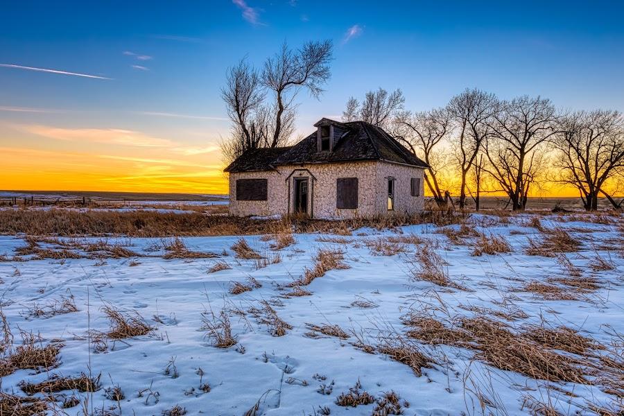 Winter Cottage by Kendra Perry Koski - Buildings & Architecture Decaying & Abandoned ( united states, winter, cold, dakotawindsphoto.com, building, canon, home, orange, 2019, dakota winds photography, blue, january, snow, sunset, south dakota, cottage, architecture,  )