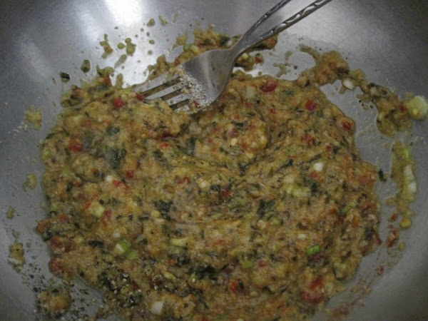 Combine all ingredients (except beef) in a large bowl. Now add the ground beef,...