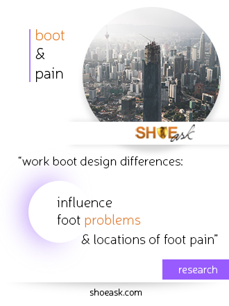Work boot design influences foot problems and locations of foot pain.