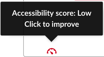 A close up of red indicator text. Accessibility score: Low. Click to improve.