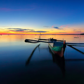 Traditional Boat by Imansyah Putra - Transportation Boats ( sunset, transportation, beach, boat,  )