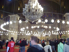 Photo: Inside the mosque.  The little lights are modern, but the chandeliers have been hanging there for 200 years.  Our tour guide refused to walk underneath them.