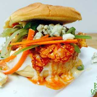 Buffalo Cauliflower Sliders w. Yogurt Gorgonzola Dressing