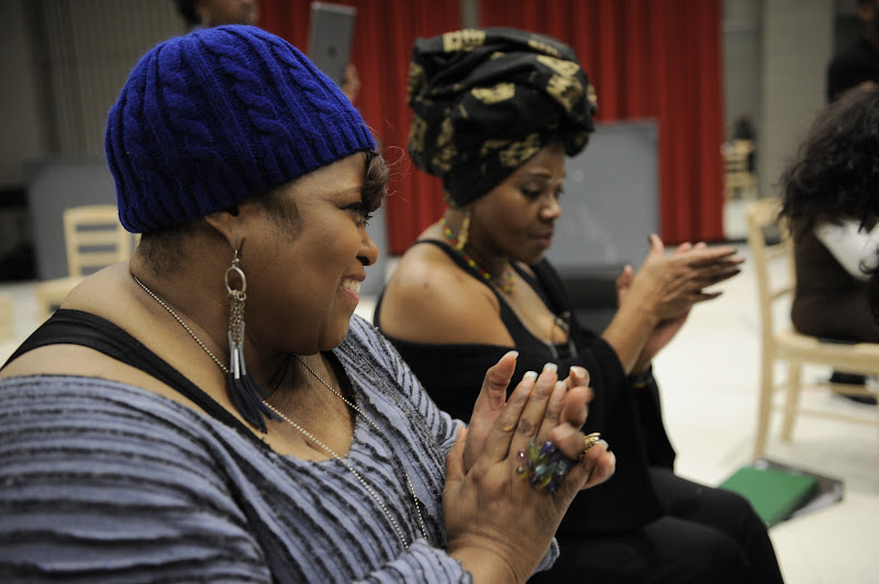 Photo: (Left to Right) Felicia Fields (Mother Shaw) and Laura Walls (Ensemble) rehearse Regina Taylor's 10th anniversary production of Crowns at Goodman Theatre (June 30 – August 5).