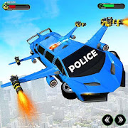 Flying Police Limo Car Transform Robot Games