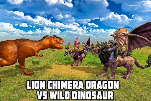 león, quimera, dragón, contra, salvaje, dinosaurio