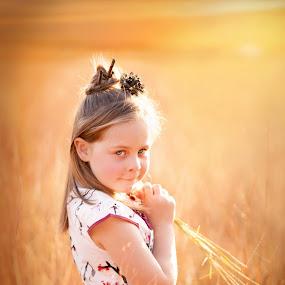 Sunset child by Shayne Janks Nicolas - Babies & Children Child Portraits ( orange, little girl, peaceful, red, sunset, beautiful, dress up, blue eyes, chinese )