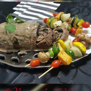 ~ Stuffed Ribeye Steak With Vegetable Kebabs ~