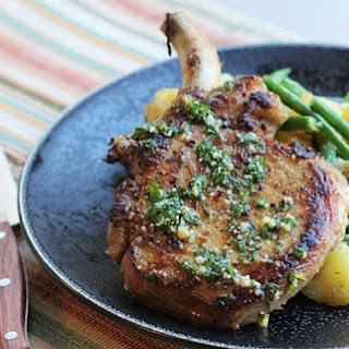 Pork Chops with Green Beans and Potatoes.