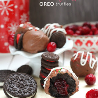 Cranberry Stuffed Oreo Truffles