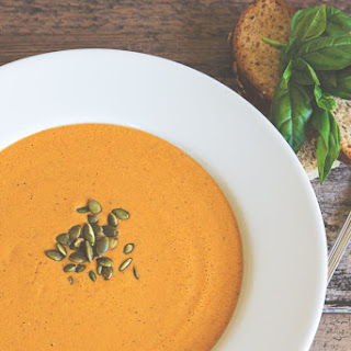 Chilled Red Pepper Tomato Soup with Roasted Pumpkin Seeds