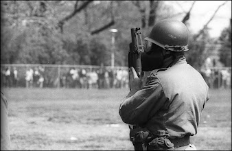 Photo: This guardsman is equipped a grenade launcher used to launh tear gas.