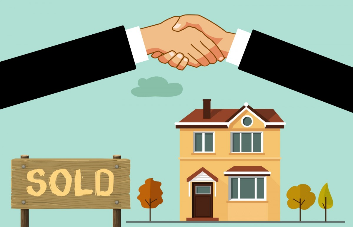 house mortgage home sold real estate property valuation commission handshake location commercial new structure residential realtor agreement buy cartoon real estate illustration roof gesture hand room art