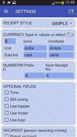 Cash Receipt Screenshot