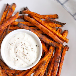 Chili Garlic Sweet Potato Fries with Lemon Garlic Mayo