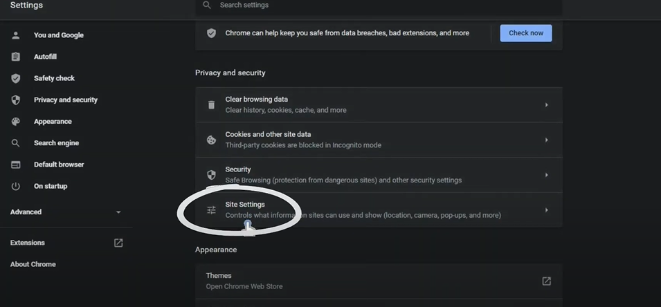 click on site settings from advanced section
