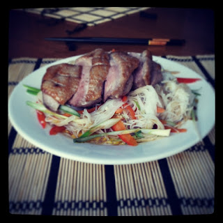 [Chinese New Year] Tea Smoked Duck with Rice Noodle Salad and a lesson in Mandarin.
