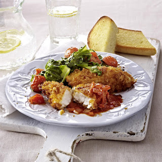 Crispy Crusted Fish with Roasted Cherry Tomatoes and Romaine.