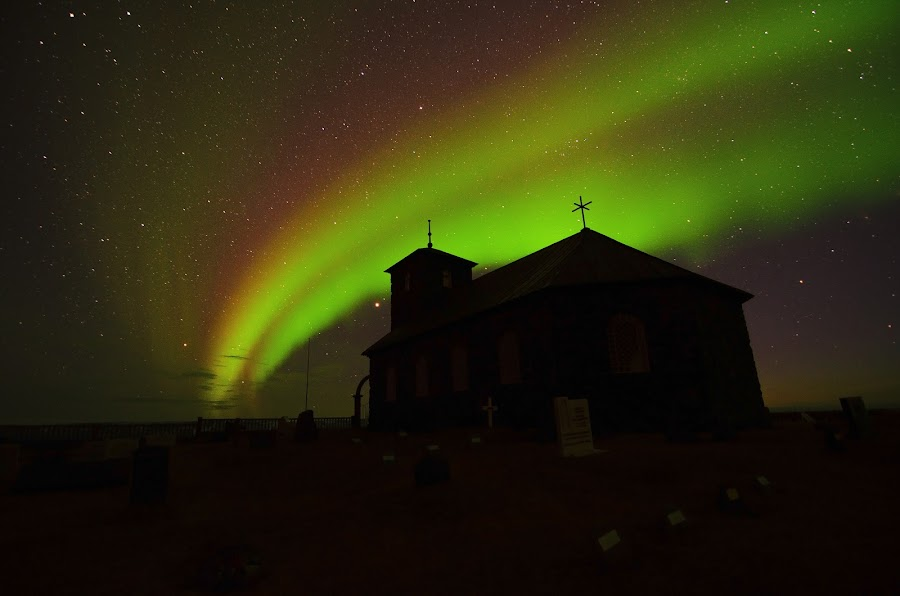 Thingeyrar church in Iceland,  in northern lights by Höskuldur Erlingsson - Landscapes Starscapes ( northern, iceland, church, aurora, thingeyrar )