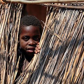 Peek-A-Boo by James Bokovoy - Babies & Children Hands & Feet ( child, fence, village, mukuni village, hut, zambia, africa, boy )