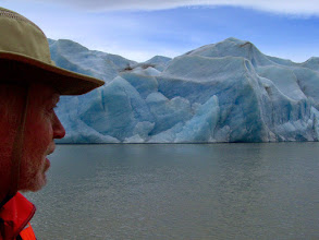 Photo: Dan watches for ice falling from Glacier Grey