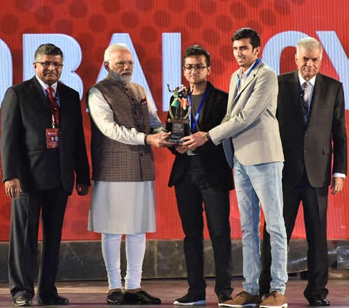 Astra Security- Receiving Award From PM
