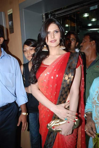 Zareen Khan in red saree, Zareen Khan hot photos, Zareen Khan sexy photos