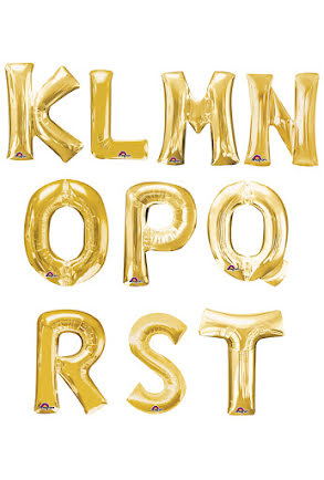 Folieballong bokstav K-T, guld