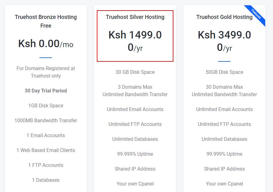 cheapest web hosting package in Kenya