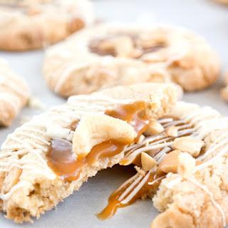 White Chocolate Salted Cashew Caramel Cookies.