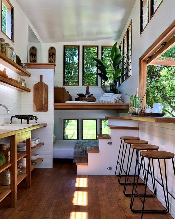 "Tiny House Hunter 🏡 on Instagram: ""This tiny house is so beautiful! ❤️ Would you love to live here? 👀 SWIPE through to see the rest of the home! 😍 TAG a friend who wants a…"""