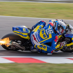 Flameout by James Booth - Transportation Motorcycles ( bike, corner, superbike, racer, flame,  )