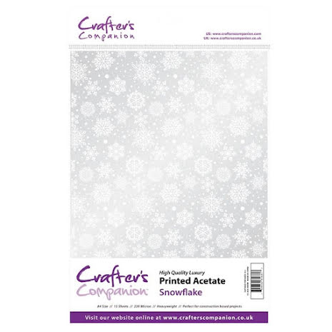 Crafters Companion Printed Acetate A4 15/Pkg - Snowflake